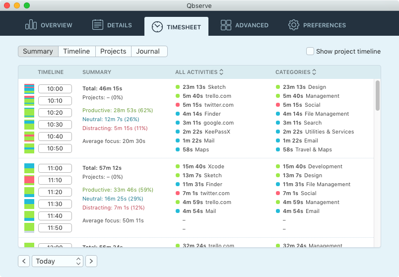 Mac Time Tracking and Productivity Improvement - Qbserve app