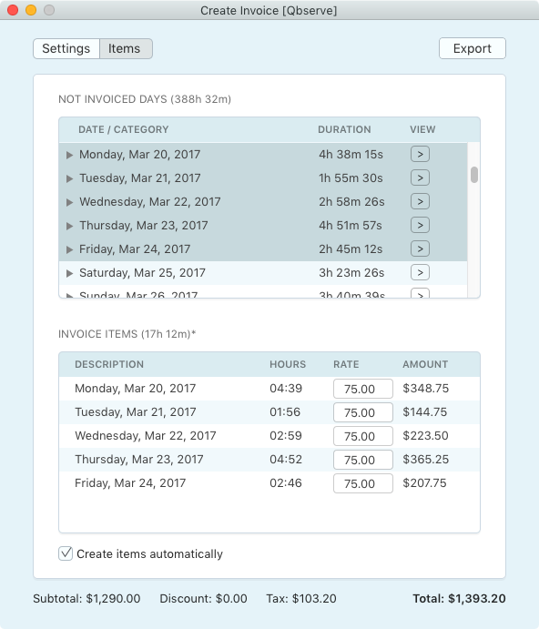 Invoice based on worked hours records